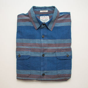 Lucky Brand True Indigo Blue Striped Button Down